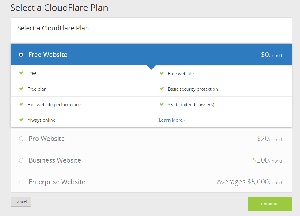 CloudFlare choose a plan